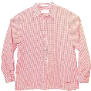 Orvis Top Womens Button Up Shirt Red Checkered
